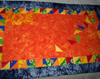 SALE Tricoloration - HandQuilted Toddler Baby Quilt - OOAK Triangles Geometric Bright Funky Shapes Batik Tie Dye Lime Green Orange