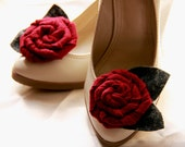 Beverly - Maroon felt rolled rose shoe clips