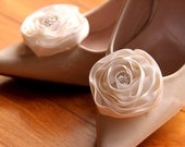 Renee - Cream satin ranunculas shoe clips with diamonte