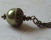The Moss Acorn Pearl Necklace