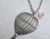 Hot Air Balloon Necklace Silver, Perfect Gift, Everyday Jewelry