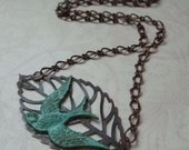 Verdigris Swallow Necklace, Leaf Jewelry, Botanical, Nature Inspired, Jewelry