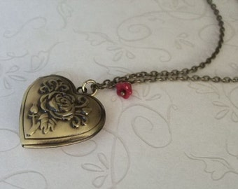 Heart Locket Necklace Valentine Jewelry Gift for Her