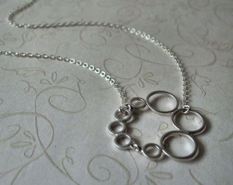 Silver Circles Necklace, Sterling Silver Chain, Minimalist Jewelry