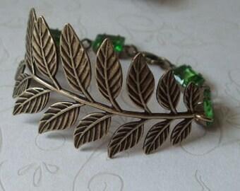 Brass Fern Bracelet Branch and Jewels Cuff Bracelet August Birthday