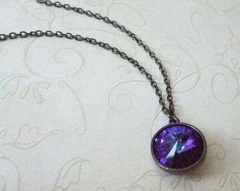 Purple Crystal Necklace, Heliotrope Crystal Rivoli, Gunmetal Chain, Modern, Gift for, Christmas, Birthday, Wife, Mom