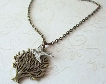 Snow Bird Necklace, Antiqued Brass, Botanical Jewelry, Casual, Everyday, Perfect Gift