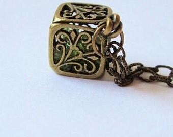 Gemstone Treasure Locket Necklace, Antiqued Brass, Birthstone Jewelry, Gift for, Her, Anniversary, Birthday