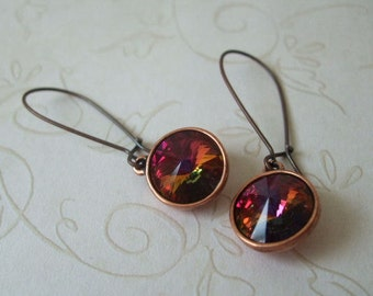 Volcano Earrings, Everyday Antiqued Copper Ear Wires