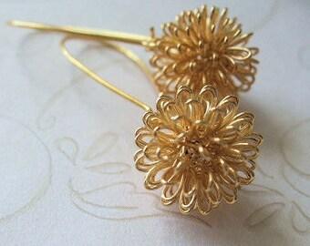 Gold Dandelion Earrings, Everyday Botanical Jewelry, Bridal Jewelry