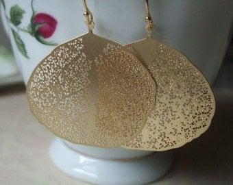 Aspen Leaf Earrings Gold, Minimal, Casual, Trendy, Everyday Earrings