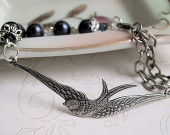 Free Bird Bracelet, Antiqued Silver Swallow and Pearl, Gift for, Mom, Girlfriend, Wife, Graduation