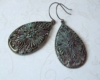 Verdigris Filigree Earrings, Bohemian Jewelry, Gift for Her, Sister, Best Friend, Mother, Daughter