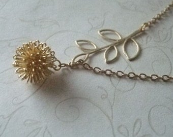 Dandelion Drop and Branch Lariat Necklace Gold, Botanical Jewelry