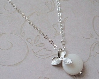 Orchid and Pearl Necklace, Sterling Silver, Bridal Jewelry