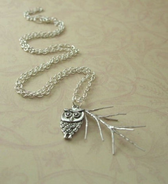 Matte Silver Pine Branch and Mod Owl Charm Necklace
