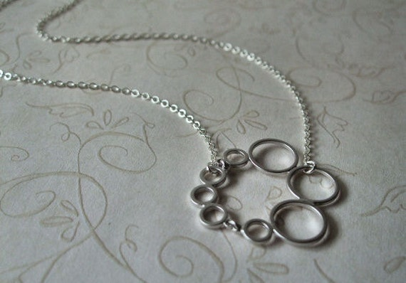 Silver Circles Necklace, Sterling Silver Chain, Minimalist, Circle, Gift for, Christmas, Birthday