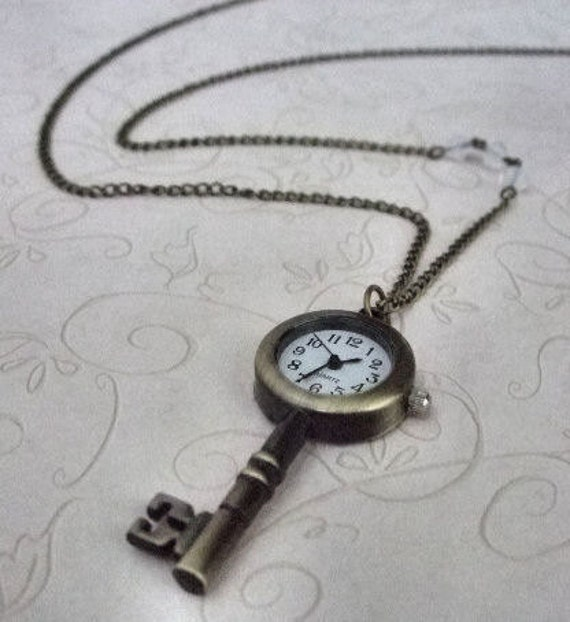 Steampunk Key Watch Pendant Necklace - Great gift, Mother's jewelry, Birthday, Anniversary