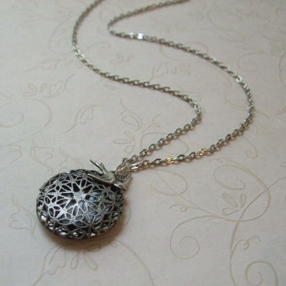 Necklace Silver Locket and Swallow - Great gift, Mother's Day, Wedding Jewelry