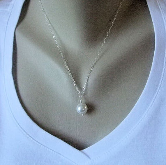 White Pearl Necklace, Bridesmaid gift, Pearl Jewelry, Sterling Silver Chain