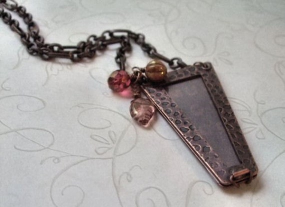 Trapezoid Photo Necklace, Antiqued Copper, Bohemian, Treasure Locket Jewelry, Gift for, Wife, Sister, Best Friend, Birthday