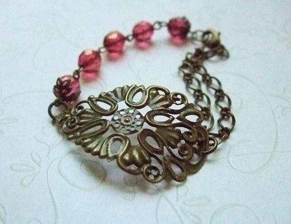 Bronze Filigree Bracelet, Beaded Jewelry, Handmade USA, Fashion Statement, Gift for, Wife, Girlfriend, Birthday
