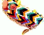 Modern Friendship Bracelet, Vintage Brass Chain, studs