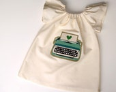 The TYPEWRITER Dress - handmade organic cotton peasant dress in Ecru from size 3T-5T