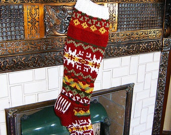 Dark Red Nordic Christmas Stocking