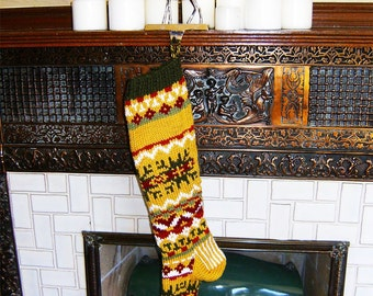 Dark Golden Nordic Christmas Stocking