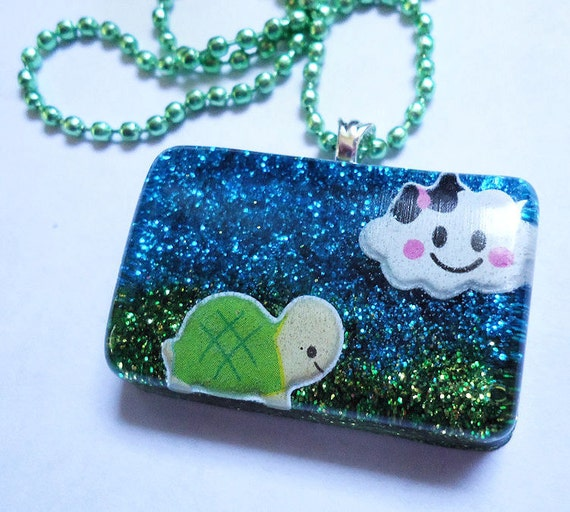 ON SALE Baby Turtle on a Cloudy Day (Glitter Resin Necklace)