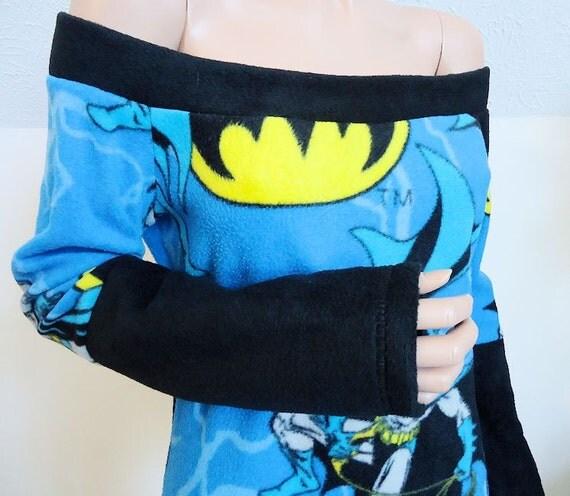 Batman Stretchy Fleece (Slouch / Off Shoulder Top) Small Medium