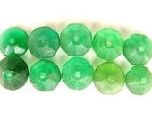 African trade beads  ( 10) Green Vaseline Glass Trade Beads Tube Spacers Africa Ethiopia jewellery making supply