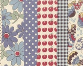 CLOSING SALE, Japanese Import Fabric by Kokka, Apples Flowers and Mushrooms in Patchwork Stripe - 1 yard
