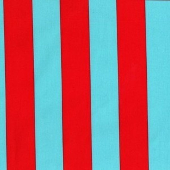 Michael Miller - Plain Jane Collection, Two By Two Stripe in Aqua, 1 yard
