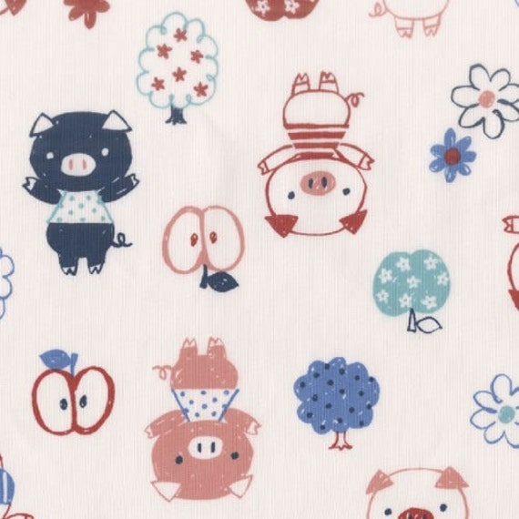 Japanese Import Fabric by Kokka - Apples, Pigs and Trees in Cream, One Yard CLOSING SALE