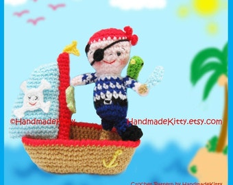 Little Jack the Pirate and His Friend McParrot with Sailing Boat Amigurumi  Crochet Pattern by   HandmadeKitty