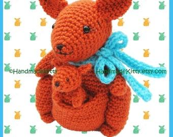 Mommy Kangaroo and Baby Kangaroo Amigurumi PDF Crochet Pattern by HandmadeKitty