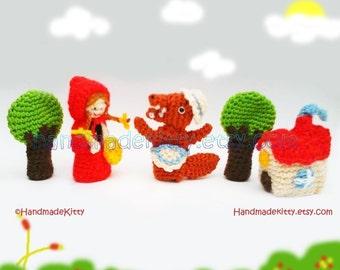 Red Riding Hood Fairy Tale Finger Puppets  Amigurumi PDF Crochet Pattern