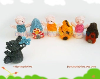 Three Little Pigs Fairy Tale Finger Puppets Amigurumi PDF Crochet Pattern