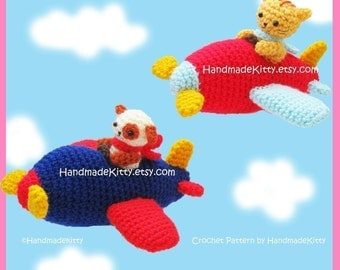 Kitty and Doggy Aerobatic Flying Team Amigurumi Crochet Pattern by HandmadeKitty