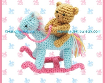 Bear on a Rocking Horse Amigurumi PDF Crochet Pattern by HandmadeKitty