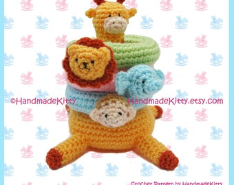Kirin Giraffe Jungle Stacker Amigurumi PDF Crochet Pattern by HandmadeKitty