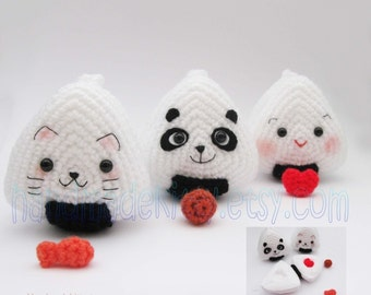 Japanese Onigiri Dolls Kitty Panda with special fillings heart salmon umeboshi Amigurumi Crochet Pattern by Handmadekitty