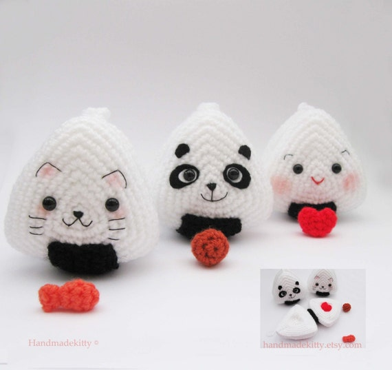 Free Crochet Patterns For Japanese Dolls : Japanese Onigiri Dolls Kitty Panda with special fillings heart