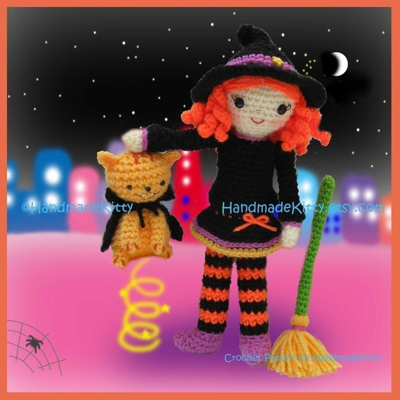 Melissa the Magic Witch and Draculin Kitty Amigurumi PDF Crochet Pattern by HandmadeKitty