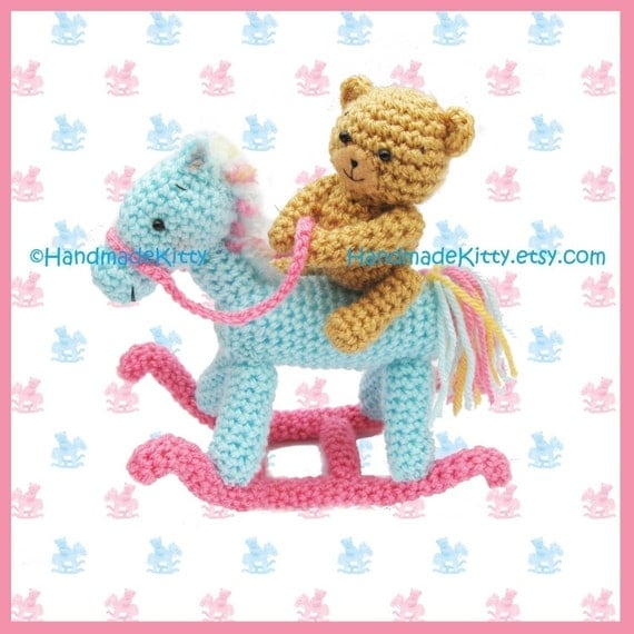 Bear on a Rocking Horse Amigurumi PDF Crochet Pattern by HandmadeKitty
