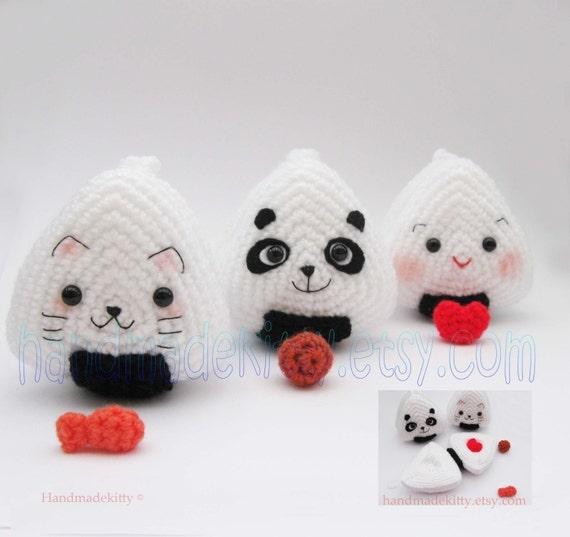Japanese Onigiri Dolls Kitty Panda with special fillings heart salmon umeboshi Amigurumi Crochet Pattern by Handmadekitty