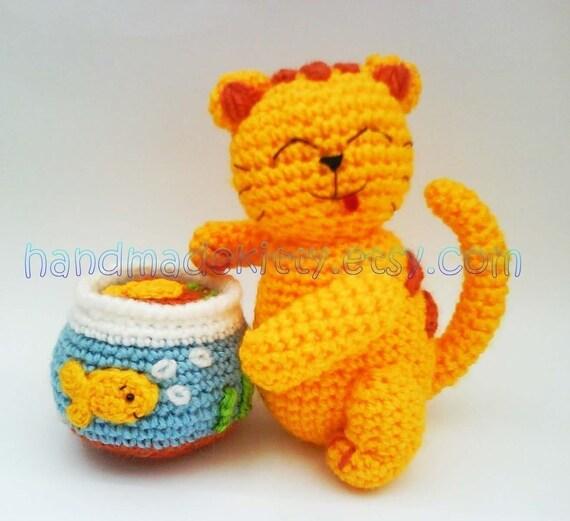 Mischievous Kitty Cat with Goldfish Tank Amigurumi PDF Crochet Pattern