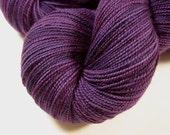 Sock Weight Superwash Merino Wool Yarn, Hand Dyed - Blackberry Tonal